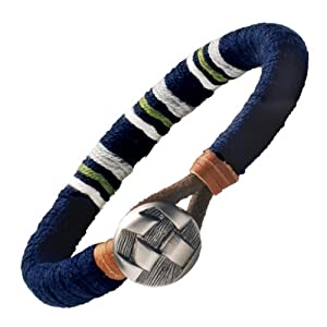 Amazon.com: Trendy Mens Navy Blue Medallion Leather ...