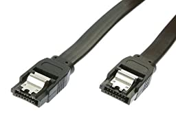 UNMCORE (10 PACK) 90 Degree Right-Angle SATA III Cable 6.0 Gbps with Locking Latch Straight (60CM)- Black