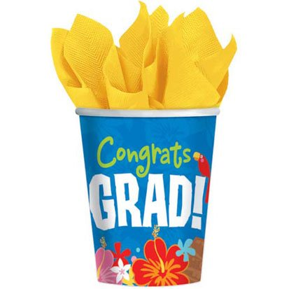 Graduation Luau Paper Cups, 18ct