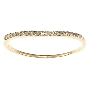 Yellow Gold 1/5 TDW Curved Pave Diamond Band (G-H, I1-I2) - size 8