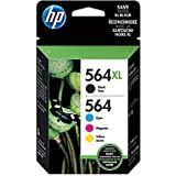HP 564XL/564 High-Yield Black and Standard C/M/Y Color Ink Cartridges w/Media Value Kit, Combo 4-Pack
