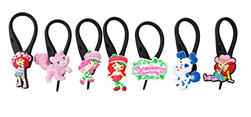 7 pcs Strawberry Shortcake Soft Zipper Pull Charms for Backpack Bag Pendant Jacket