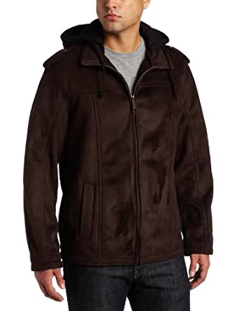 Perry Ellis Portfolio Men's Faux Shearling Jacket, Dark Brown, Small