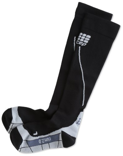 CEP Men's Progressive+ 2.0 Compression Run Socks, Black/Grey, Size 4 (Calf 15.5-17.5-Inch)