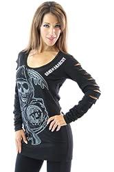 Sons of Anarchy Reaper Long Sleeve Laser Cut Juniors Black T-shirt