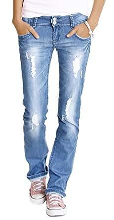 Jeans taille basse pour femme T. 40/L jeans femme style used jeans déchiré neuf