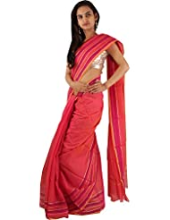 Designer Deep Pink Party Wear Lining Border Work Cotton Sari