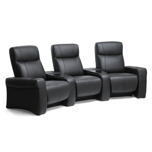 Baxton Studio Spotlight Leather Home Theater Seating, Black Picture