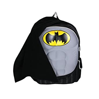 Batman 16 School Backpack with Chest Plate and Detachable Cape