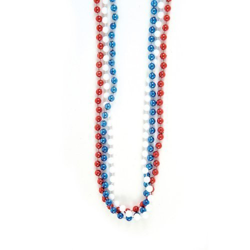 "~ 12 ~ Red, White and Blue Bead Necklaces ~ 33"" Plastic Beads ~ New ~ 4th of July, Patriotic Party Favors - 1"