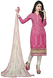 Blissta Pink Embroidered Cotton straight Dress Material
