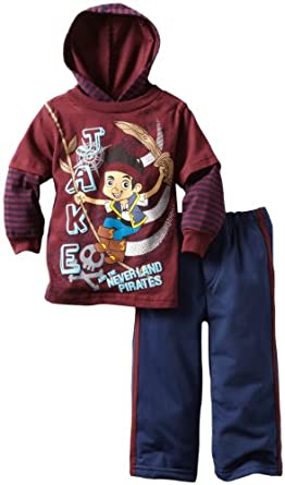 Disney Baby-Boys Infant 2 Piece Jake And The Neverland Pirates Pant Set, Dark Pink, 12 Months