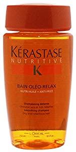 Kerastase Nutritive Bain Oleo-Relax Smoothing Shampoo For Dry and Rebellious Hair, 8.5 Ounce