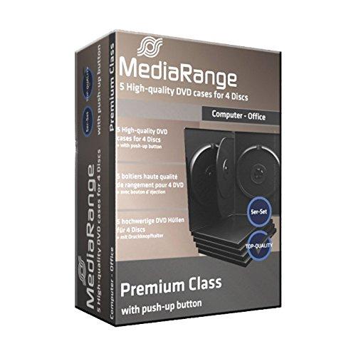 5 custodie per cd e dvd Mediarange quadruple a 4 posti, 14mm come film e videogiochi con tasca trasparente per copertina di alta qualità