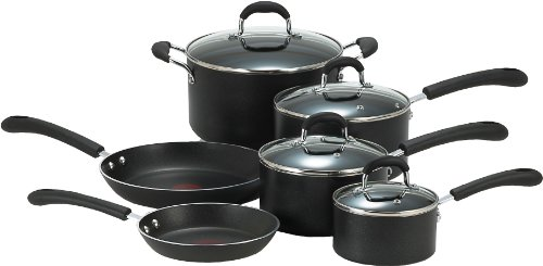 T-fal E938SA74 Professional Total Nonstick Oven Safe Thermo-Spot Heat Indicator Dishwasher Safe 10-Piece  Cookware Set, Black