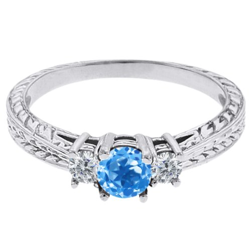 0.57 Ct Round Swiss Blue Topaz G/H Diamond 18K White Gold 3-Stone Ring