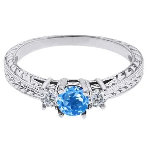 0.57 Ct Round Swiss Blue Topaz G/H Diamond 18K White Gold 3-Stone Ring