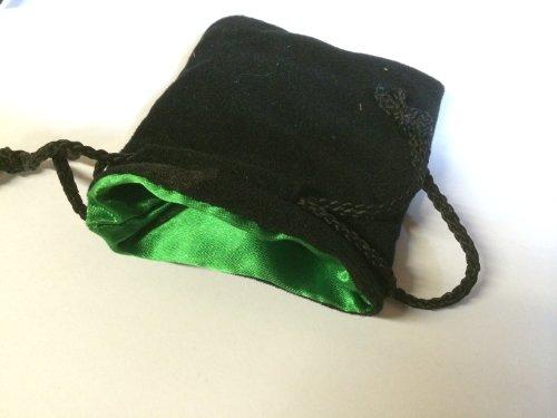 "Koplow Games 3.75""X4"" Black Velvet Bag with Green Lining - 1"
