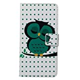 Chic Queen Premium Kunstleder Schutzhülle für HTC Desire 526G, PU Leder Bedruckt Muster Hülle Book Type Slim Fit Handy Hülle Magnetverschluss Case Tasche Wallet Flip Cover mit Standfunktion und Kartenfächer für HTC Desire 526G(4,7 Zoll),Grüne Eule