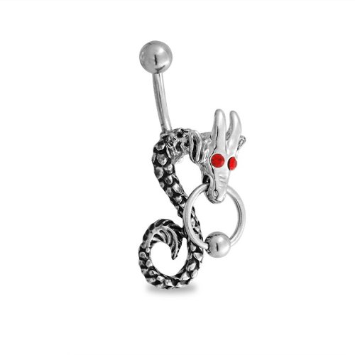 Bling Jewelry 316L Stainless Dragon Belly Button Navel Ring Ruby Color Eyes