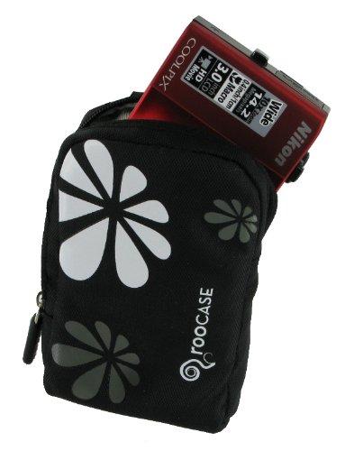 rooCASE Fashion (Daisy / Black) Nylon Padded Carrying Case forKodak EasyShare C195 Digital Camera