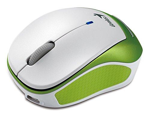 Genius Micro Traveler 9000R Mouse Wireless, 1200 Dpi, 2.4Ghz, 240 mAh Batterie Ricaricabili, Verde/Bianco