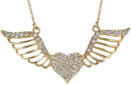 Trendy Crystal Embellished Heart with Open Flying Angel Wings Gold Plated Necklace