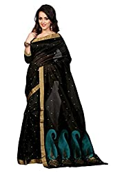 Fabcart Black Poly Cotton Saree with Blouse Piece