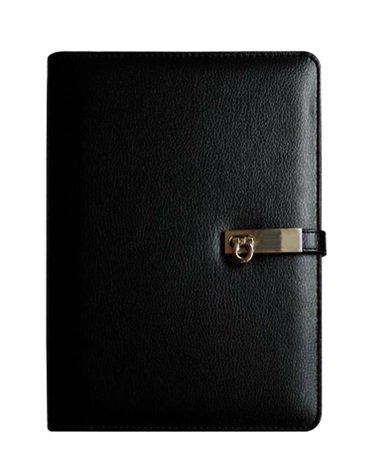 システム手帳(ブラック)  A5 6穴 ブラック・ホワイト レザー クラシック ペン入れ オリジナルストラップ付ボールペンセット
