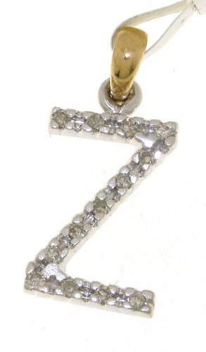 DiamondsByDruce Modern 9 ct 2 Colour Gold Ladies Diamond Pendant + Chain Brilliant Cut 0.12 Carat - 21mm*9mm