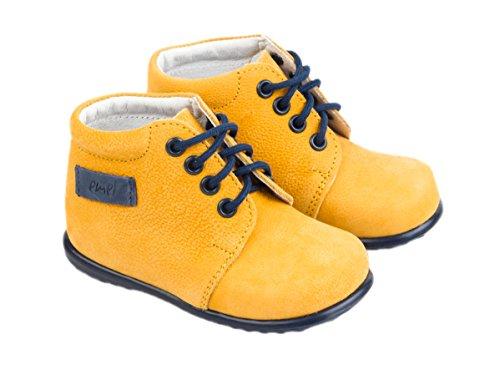 Scarpe artigianali primi passi Emel, in pelle , prodotte a mano nell'Unione Europea - di colore giallo in pelle, con stringhe, casual, taglia 18