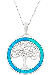 "Sterling Silver Tree of Life Created Opal Circle Pendant with 18"" Chain"