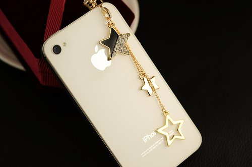 Big Mango Pretty Star Tassel And Crystal Diamond 3.5Mm Headphone Jack Anti Dust Plug Cap Stopper For Iphone 5,4,4S,Ipad ,Ipod Touch ,Samsung Galaxy S3 S4 Note Note2,Htc Black