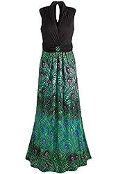 Women's Party Peacock Sleeveless Maxi Dress