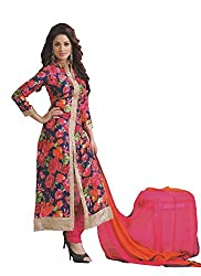 Namrah Collection Women's Georgette Embroidered & Printed (06, Multicolour)