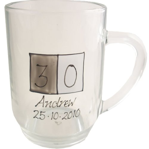 PERSONALISED 30th Birthday Gift Glass Tankard(Sq) MAXIMUM 25 CHARACTERS