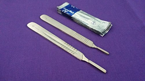 Scalpel Knife Handles #3 #4 with 20 Sterile Surgical Blades #10 #20 ( DH BRAND)