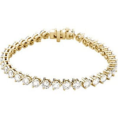 Icecarats Designer Jewellery 18Ct Yellow Gold 12Ctw Diamond Line 7.25 Bracelet 4.25 Inch