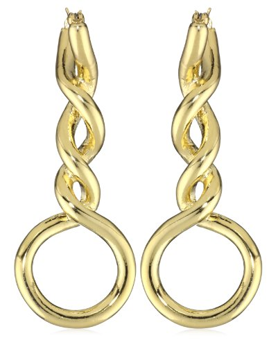 T Tahari Gold Tone Linear Twist Hoop Earrings