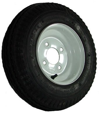 "4-hole 8"" x 3.75"" White Trailer Wheel & Tire (590 lb. capacity)"