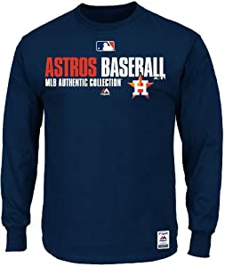 Houston Astros AC Navy Team Favorite Long Sleeve Team Issued Tee Shirt by Majestic by Majestic