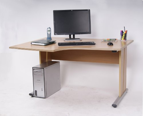 Ergonomic Left Hand Corner Radial Desk 1300 Maple ES1640/MP