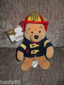 "The Disney Store Mini Bean Bag Fireman Pooh 8"" - 1"