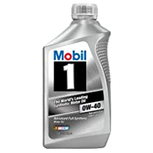 Mobil 1 96989 0W-40 Synthetic Motor Oil - 1 Quart Bottle (Pack of 6)