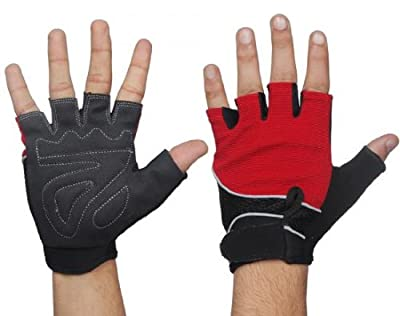 Fitness Gear Red/Black small weight lifting cycling bike training gloves finger loop gym training fitness. from Fitness Gear
