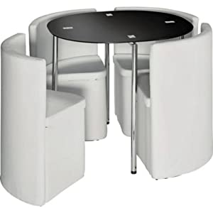 Essentialz hygena round space saver white dining table and for Round space saving dining table and chairs