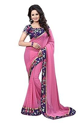 Manish Creation Women's Faux Georgette Saree (mc_pinkflower_Free Size_pink)