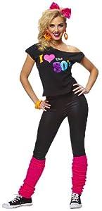 I Love The 80s Shirt, Black, Adult - Medium/Large (10-14)