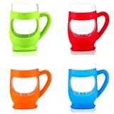 THE KUPP' Glass Drinking Cup, 6 ounce, 4 pack, Red/Orange/Blue/Green