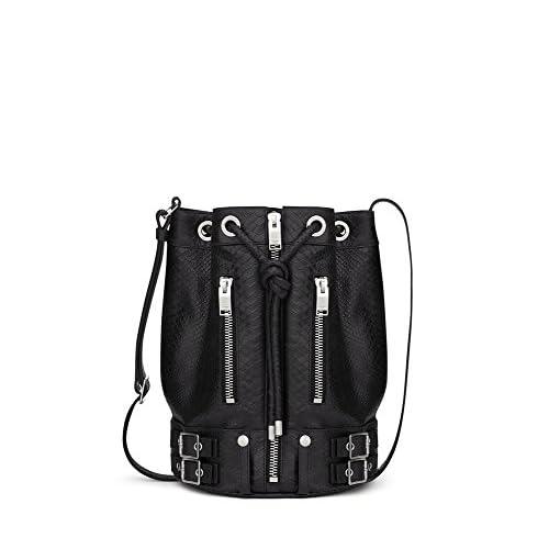 (サンローランパリ) Saint Laurent Rider Bucket Bag in Black Python Embossed Leather (並行輸入品) LASTERR